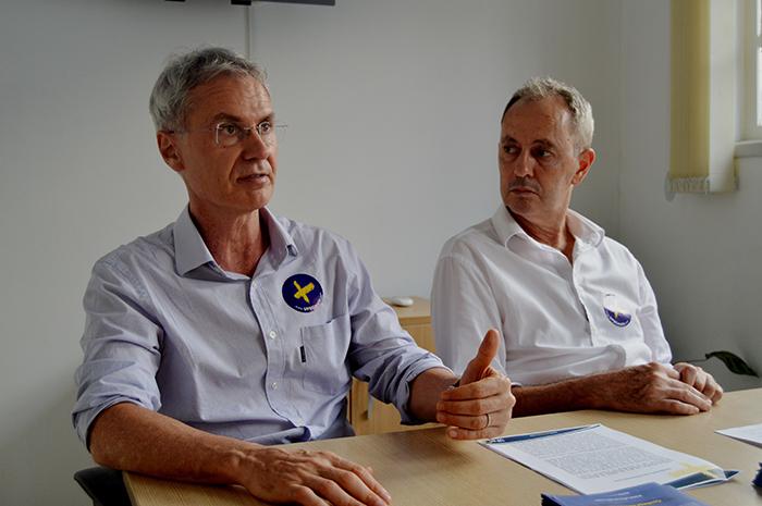 Carlos Alberto Marques e Edson Roberto De Pieri, candidatos a vice-reitor e reitor, respectivamente