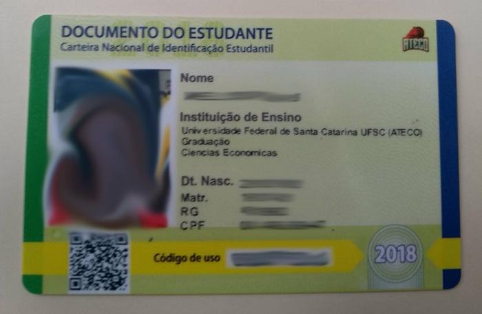 Foto da Carteira  Nacional de Identificação Estudantil